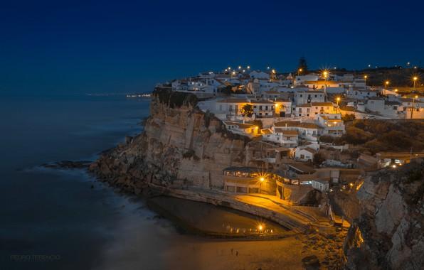 Картинка море, ночь, дома, панорама