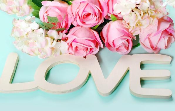 Картинка розы, сердечки, love, heart, wood, pink, flowers, romantic, petals, roses, розовые розы, pastel