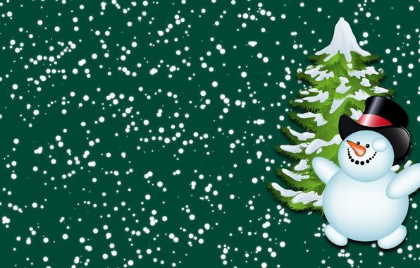Картинка Зима, Минимализм, Снег, Новый год, Елка, Праздник, Настроение, Ёлка, Снеговик
