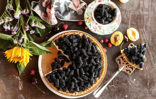 Картинка цветы, ягоды, подсолнух, пирог, десерт, выпечка, сладкое, шелковица