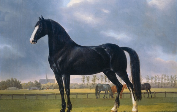 Картинка животные, масло, картина, лошади, холст, Энтони Оберман, Рысак Быстрый на Лугу