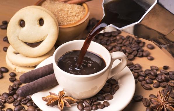 Картинка настроение, кофе, печенье, напиток, корица, шоколадные палочки, анис, чашка кофе, кофейное зерно