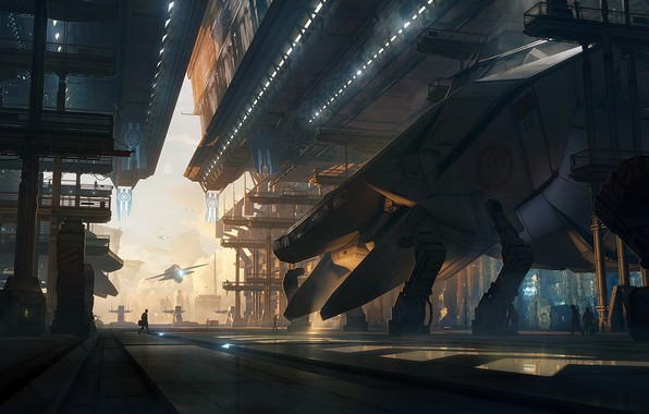 Картинка future, fantasy, people, digital art, artwork, fantasy art, futuristic, Spaceships, hangars