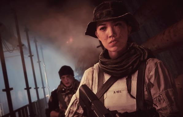 Картинка gun, game, weapon, woman, Battlefield, man, rifle, chinese, Battlefield 4, Battlefield IV