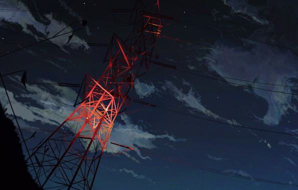 Картинка небо, ночь, лэп