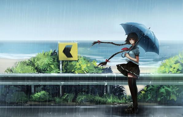 Картинка girl, sea, umbrella, anime, asian, japanese, asiatic, uniform, seifuku, orieantal