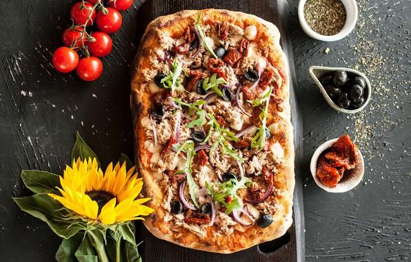 Картинка зелень, еда, овощи, пицца, начинка, приправа