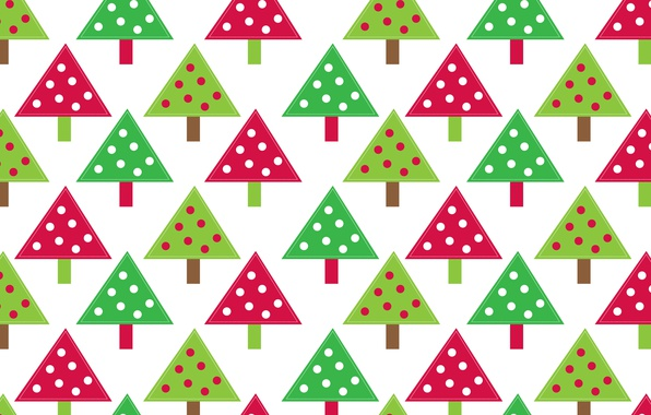 Картинка абстракция, дерево, праздник, узор, краски, игрушки, елка, Новый Год