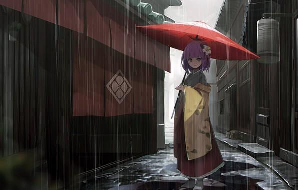 Картинка girl, rain, dress, umbrella, anime, street, houses, Touhou, alley, kimono, purple hair, anime girl, Hieda …