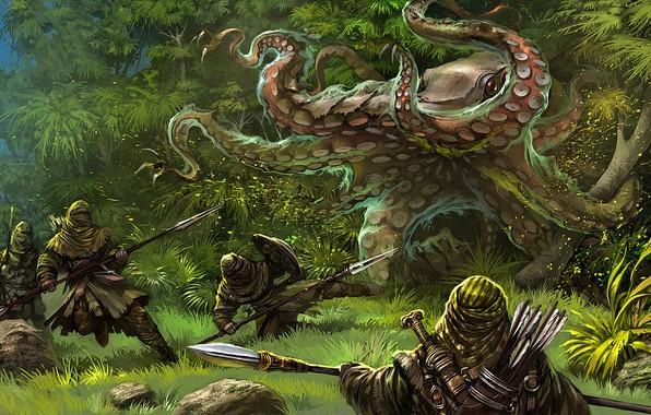 Картинка лес, нападение, чудовище, воины, Gamedev illustration