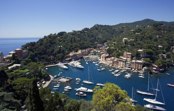 Картинка побережье, бухта, яхты, Италия, панорама, катера, Лигурийское море, Italia, Портофино, Portofino, Лигурия, Liguria, Ligurian Sea