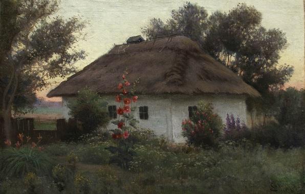 Картинка цветы, дом, масло, Холст, Ефим ВОЛКОВ, Украинский пейзаж с хатой
