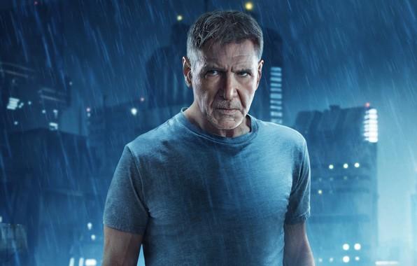 Картинка ночь, город, огни, фантастика, дождь, триллер, постер, Harrison Ford, Харрисон Форд, Rick Deckard, Бегущий по ...