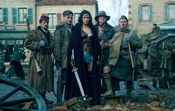 Картинка cinema, sword, gun, Wonder Woman, armor, weapon, man, army, movie, ken, blade, brunette, shotgun, film, …