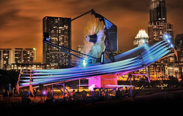 Картинка выставка, США, Остин, штат Техас, космический телескоп Джеймса Вебба, полномасштабная модель