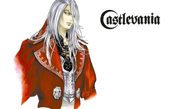 Картинка воротник, вампир, парень, art, castlevania, ayami kojima, длинные белые волосы, juste belmont