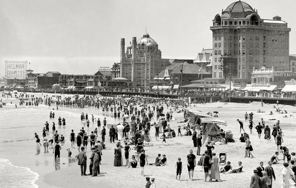 Картинка море, пляж, ретро, люди, берег, США, 1915-й год