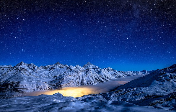 Картинка зима, небо, звезды, снег, горы, ночь