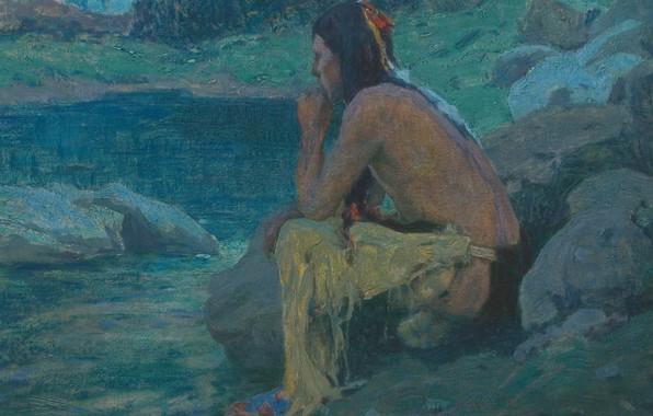 Картинка камни, задумался, Eanger Irving Couse, Moonlight 1, одинокий индеец