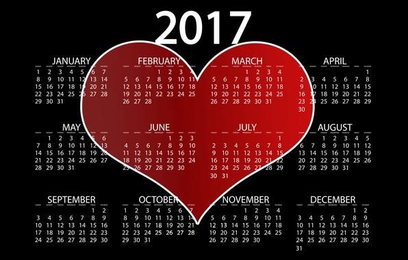 Картинка любовь, красный, фон, черный, сердце, графика, новый год, вектор, цифры, черный фон, календарь, год, дата, …