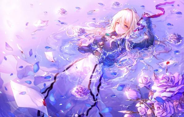 Картинка Вода, Девушка, Аниме, Violet Evergarden