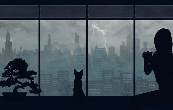 Картинка кошка, девушка, город, дождь, by Aquelion