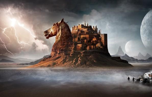 Картинка гроза, горы, люди, замок, конь, молния, пустыня, лошадь, голова, автомобиль