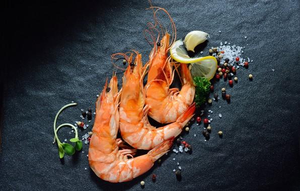 Картинка зелень, перец, креветки, морепродукты, соль