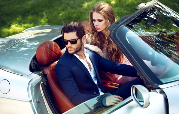 Картинка car, машина, взгляд, девушка, стиль, макияж, очки, костюм, мужчина, двое, fashion, мода