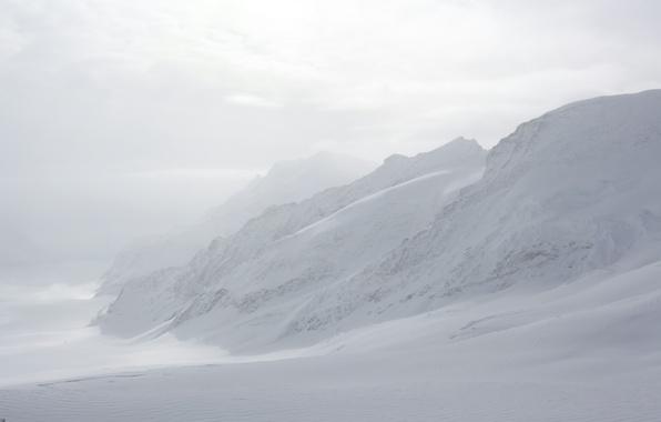 Картинка Зима, Горы, Туман, Снег, Швейцария, Мороз, Winter, Frost, Snow, Mountains, Fog, Юнгфрау, Бернские Альпы