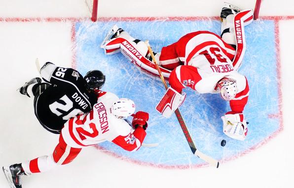 Картинка Игра, Спорт, Лед, Лёд, Los Angeles, Detroit, NHL, НХЛ, Хоккей, Kings, Национальная хоккейная лига, Red …