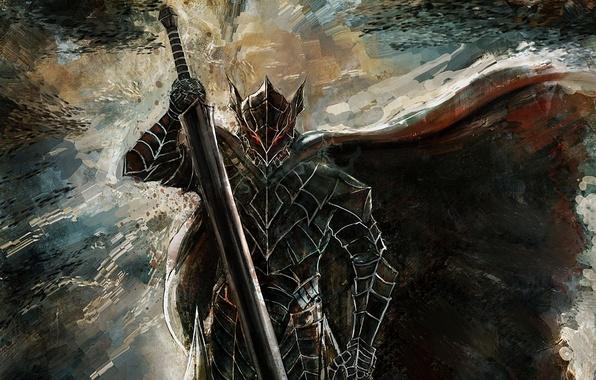 Картинка sword, game, monster, armor, fox, anime, man, ken, blade, Berserk, manga, powerful, strong, Guts, bakemono, …