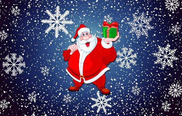 Обои Фон, Настроение, Праздник, Санта Клаус, Минимализм, Зима, Новый год, Санта, Снег, Подарок
