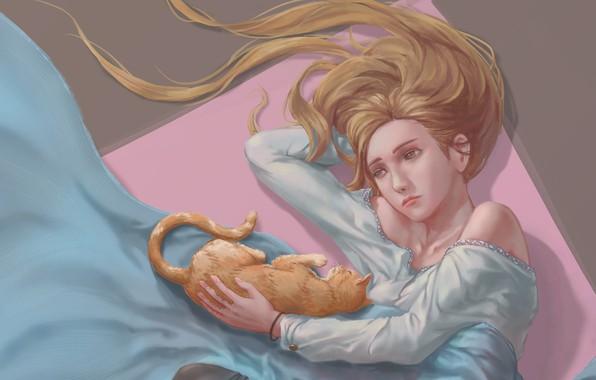 Фото обои кошка, кот, девушка, киса