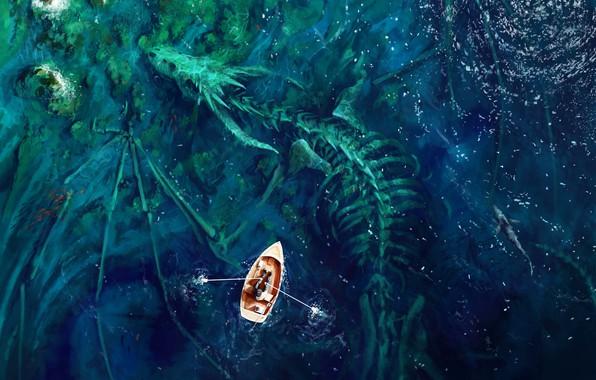 Картинка colorful, fantasy, Dragon, sea, water, man, shore, shark, digital art, artwork, boat, bones, fantasy art, …