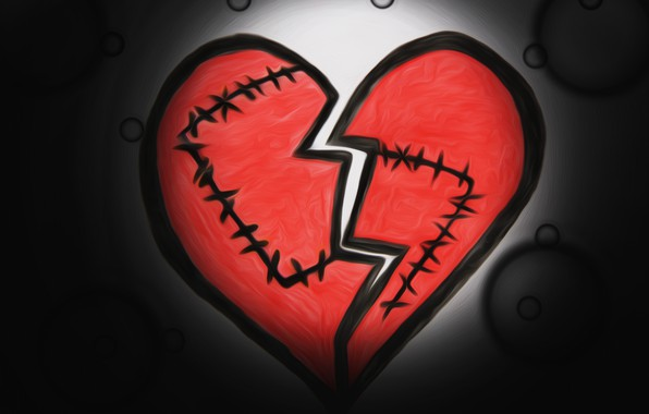 Картинка сердце, рисунок, шов, разбитое сердце