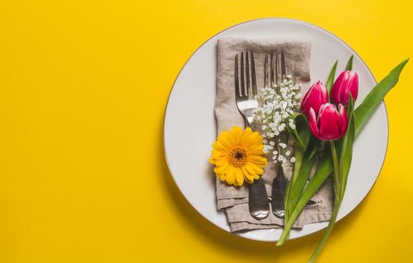 Картинка цветы, тюльпаны, сервировка