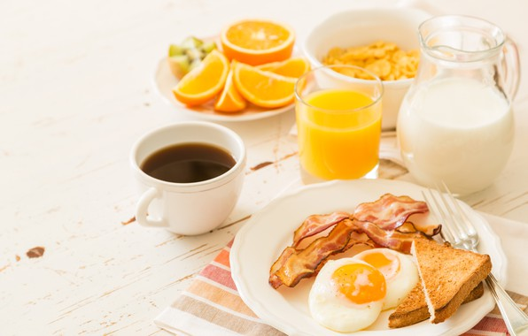 Картинка кофе, апельсин, завтрак, молоко, сок, хлопья, тосты