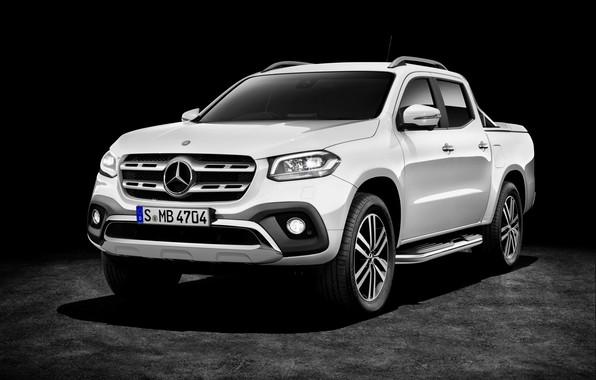 Картинка белый, фон, Mercedes-Benz, тёмный, пикап, 2017, X-Class