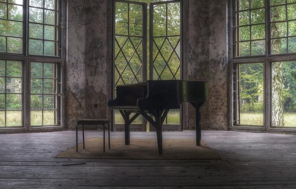 Картинка комната, стул, пианино