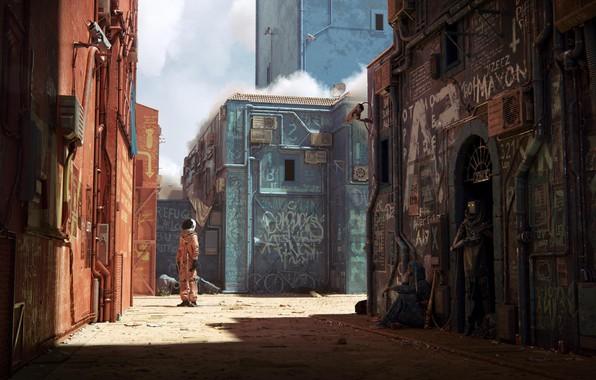 Картинка city, fantasy, graffiti, camera, street, man, digital art, artwork, fantasy art, helmet, bicycles, futuristic, astronaut, …