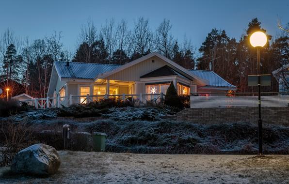 Картинка зима, деревья, огни, дома, вечер, фонари, Швеция