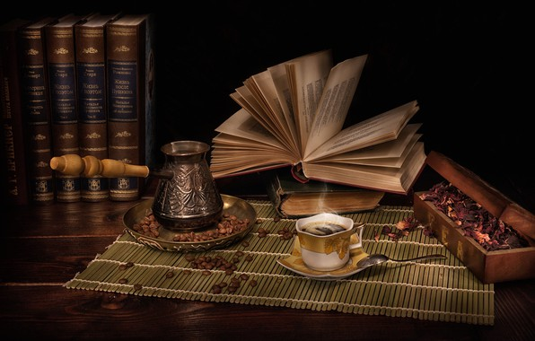 Картинка стиль, книги, кофе, лепестки, натюрморт, кофейные зёрна, турка