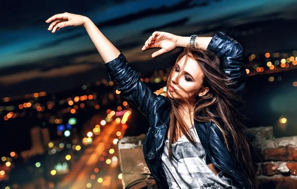 Фото обои девушка, танец, ночной город