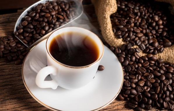 Картинка кофе, чашка, hot, coffee beans, cup of coffee