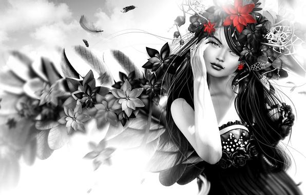 Фото обои волосы, девушка, цветы