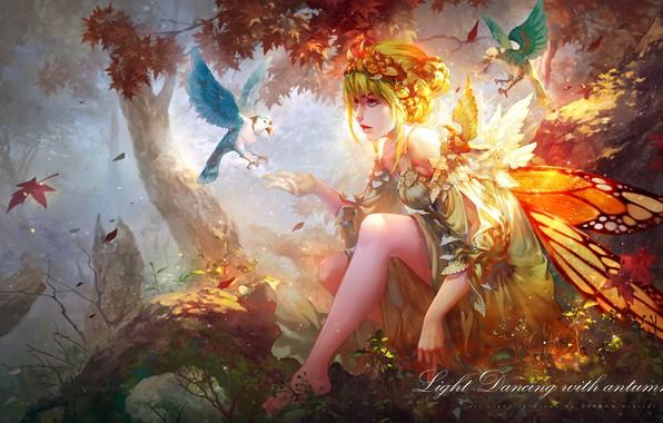 Картинка девушка, птицы, природа