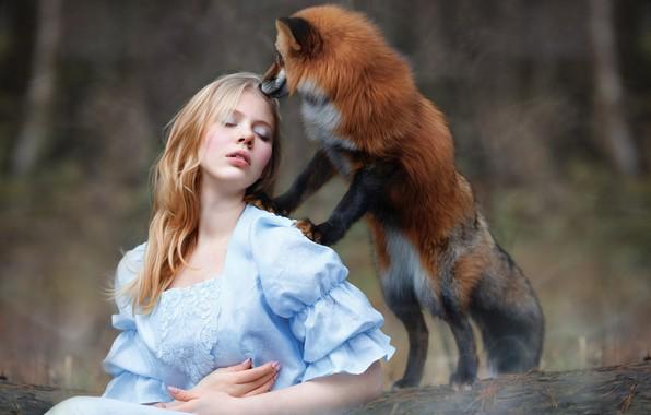 Картинка девушка, лиса, рыжая, друзья, Юлия Ковальская, фотограф Светлана Никотина