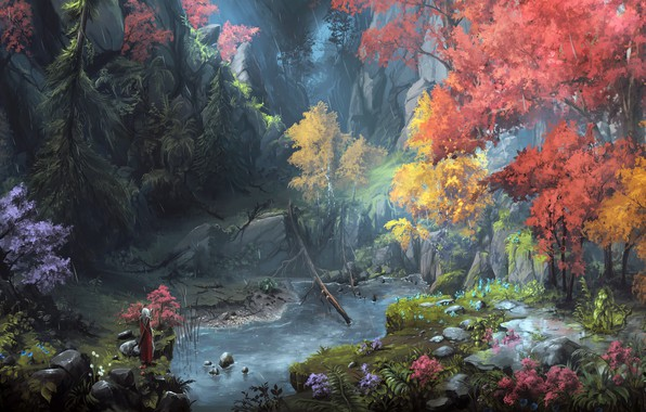 Картинка sword, forest, river, rain, trees, landscape, weapon, nature, Warrior, rocks, digital art, artwork, fantasy art, …