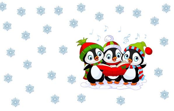 Картинка зима, настроение, праздник, минимализм, арт, Новый год, пингвин, шапочка, снежинка, детская
